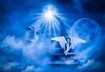 Обои Лицо женщины в облаках, рядом сидящая на ступеньках лестницы ее ангел хранитель, Солнце и Луна на заднем плане, в синих тонах, by Thomas Skirde