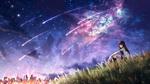Обои Девушка сидит в траве на фоне космоса, by CZY