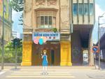 Обои Девочка с кошачьими ушками держит в руке разноцветные воздушные шарики, стоя на пешеходной зебре, by mclelun