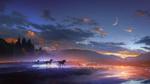 Обои Лошади скачут по воде под ночным небом с луной, by t1na