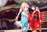 Обои Admiral Hipper Azur Lane в кимоно с подругой стоят перед японским храмом из игры Kantai Collection: KanColle / Флотская коллекция