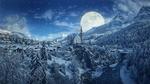 Обои Городок у подножья гор зимой на фоне огромной луны в небе