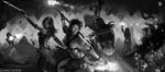 Обои Elementalist versus Mesmer / Элементалист против Месмера, арт к игре Guild Wars 2 / Гильдия войн 2, by SkavenZverov