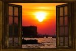 Обои Открытое окно за которым венецианский пейзаж на закате, by Gerhard Gellinger