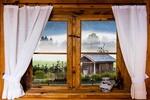 Обои Окно с занавесками, ваза на подоконнике, за стеклом утренний деревенский пейзаж, by Gerhard Gellinger