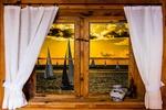 Обои Окно с занавесками, ваза на подоконнике, за стеклом парусные яхты в море на закате, by Gerhard Gellinger