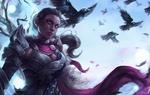 Обои Девушка-воин стоит среди летящих воронов, арт к игре Guild Wars 2 / Гильдия войн 2, by Astri Lohne