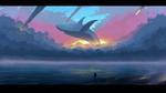 Обои Силуэт мужчины с собакой на морском берегу, в закатном небе парит кит, by shikamuro