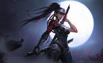 Обои Genji Shimada / Гэндзи Шимада из игры Overwatch / Дозор в женском образе, by Qichao Wang