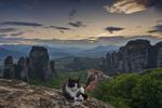 Обои Кот на фоне горного пейзажа, Greece / Греция. Фотограф Еди Адамов