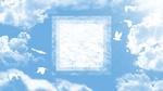 Обои Светлая абстракция в квадрате и белые силуэты голубей в голубом небе с облаками