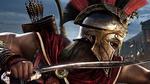 Обои Спартанский наемник Алексиос в бою, арт к игре Assassin's Creed Odyssey / Кредо Убийцы Одиссея
