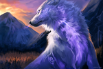 Обои Белый волк на фоне гор, by Kipine