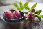 Обои Розовые розочки в глубокой тарелочке и на столе. Фотограф Julie Jablonski
