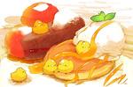 Обои Желтые птички и десерт