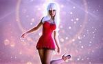 Обои Девушка -блондинка Emily Harper в красном платье, by REDANTArts
