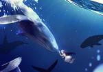Обои Девушка в белом платье и киты под водой