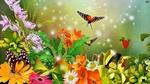 Обои Бабочки порхают над букетом цветов и кустиком земляники