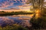 Обои Тихий летний закат над рекой, фотограф Алексей Малыгин