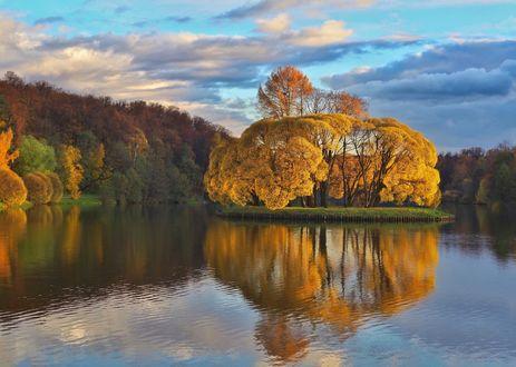 Закат осенью рисунок