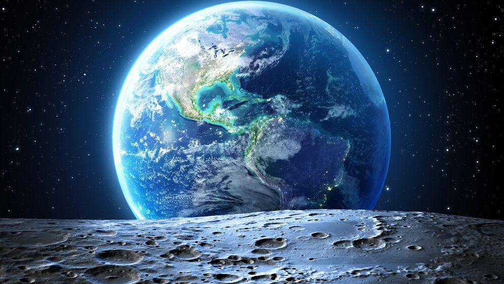 Обои для рабочего стола Вид на планету Земля с поверхности Луны