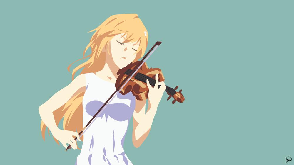 Обои для рабочего стола Kaori Miyazono / Каори Миязоно из аниме Shigatsu wa Kimi no Uso / Твоя апрельская ложь, by greenmapple17
