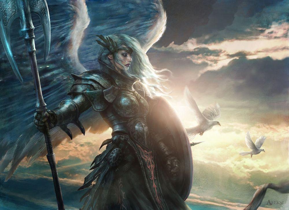 Обои для рабочего стола Воин Aegis Angel / Ангел Эгиды и летящие голуби в небе, из игры Magic: The Gathering, by Aleksi Briclot