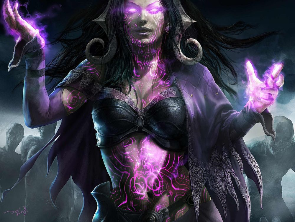 Обои для рабочего стола Ведьма Liliana Vess / Лилиана Весс из игры Magic: The Gathering, by Aleksi Briclot