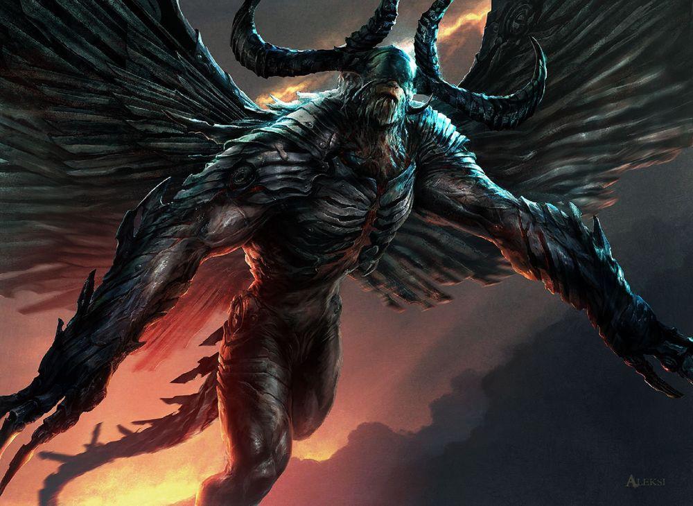 Обои для рабочего стола Phyrexian Demon / Фирексианский Демон из игры Magic: The Gathering, by Aleksi Briclot