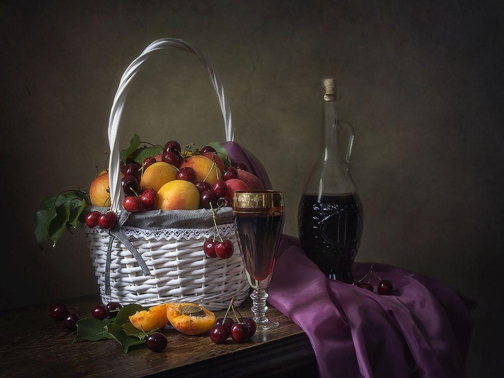Днем рождения, картинки с вином и фруктами