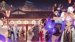 Обои Сбор японских екаев ночью перед храмом, art by Onmyouji Miko