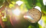 Обои Часы на цепочке на размытом фоне природы