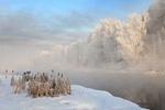 Обои Туман над незамерзшей речкой зимой, фотограф Олег Богданов