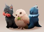 Обои Litten / Литтен, Rowlet / Роулет и Popplio / Попплио из аниме Pokemon / Покемон, by MrRedButcher