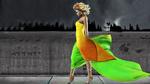 Обои Целеустремленная девушка в ярком платье
