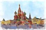Обои Москва / Moscow, Красная площадь, храм Василия Блаженного, стилизация под рисунок, by Elena / Azazelok