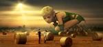 Обои Громадная эльфийская девочка рассматривает пару влюбленных в поле, by Stefan Keller