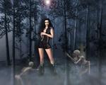Обои Девушка-вампир в окружении скелетов на заброшенном лесном кладбище, by Susan Cipriano