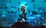 Обои Актер Jason Momoa / Джейсон Момоа в роли Aquaman / Аквамена среди обитателей океана, постер к одноименному фильму