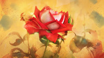 Обои Нарисованная алая роза с опадающими лепестками