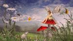 Обои Маленькая фея сидит на огромном мухоморе, на нее с любопытством смотрит крыса, в воздухе летает бабочка и пчела