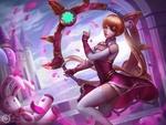 Обои Девушка с фантастическим оружием стоит на фоне замка, by exia xiaotong
