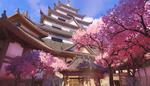 Обои Японский замок с цветущей сакурой из игры Overwatch / Дозор