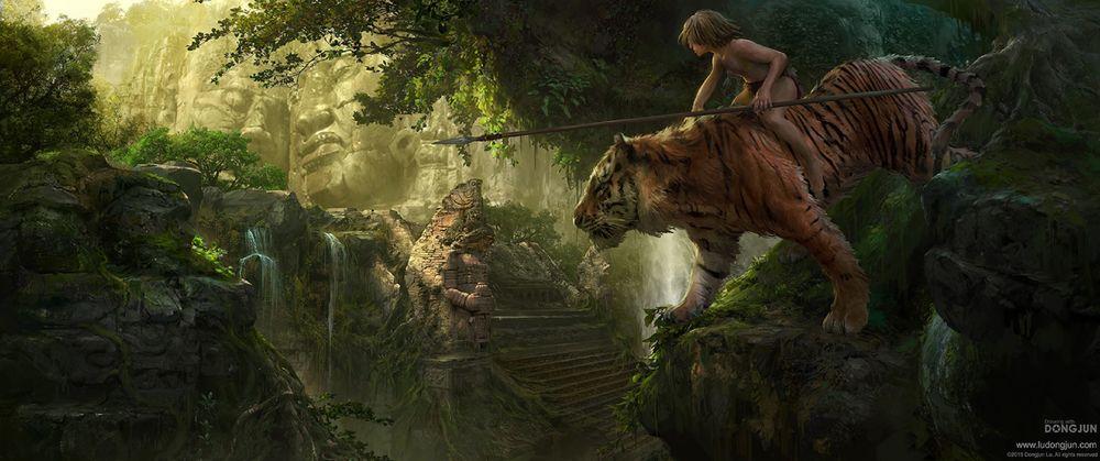 Обои для рабочего стола Маугли верхом на тигре Шерхане, арт по Jungle book / Книге Джунглей, by Russell Dongjun Lu