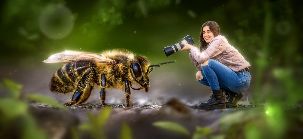 Обои для рабочего стола Улыбающаяся девушка с фотокамерой сидит рядом с громадной пчелой, фотошоп, by Stefan Keller