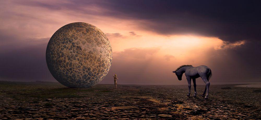 Обои для рабочего стола Девушка рядом с громадным шаром на пустынной равнине, чуть поодаль белый единорог, закат, by Stefan Keller
