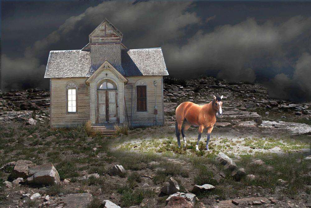 Обои для рабочего стола Лошадь у маленького домика на пустынной равнине, ночь, by Gene Halford