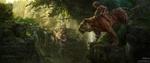 Обои Маугли верхом на тигре Шерхане, арт по Jungle book / Книге Джунглей, by Russell Dongjun Lu
