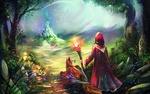 Обои Странник чародей в длинном красном плаще, с горящим магическим огнем жезлом в руке и в сопровождении крылатого пса, смотрит на волшебный замок вдали