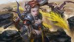 Обои Girl Knight / Девушка-рыцарь у водопада среди летящих драконов, by Russell Dongjun Lu